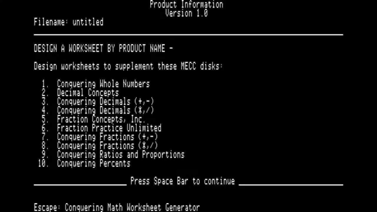 Apple Ii Mecc Conquering Math Worksheet Generator Youtube