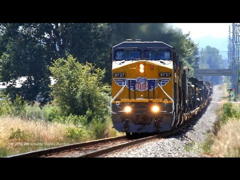 UP 9737 leads a military transport train north through Salem, Oregon 7-5-2012