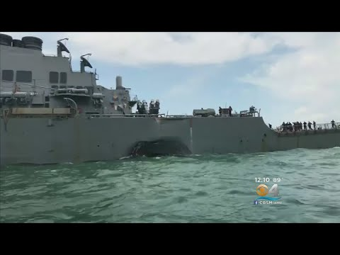 Damaged Destroyer USS McCain Arrives At Singapore Base