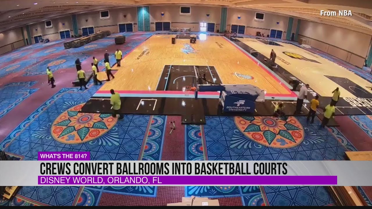 Crews Convert Disney Ballrooms Into Basketball Courts Youtube