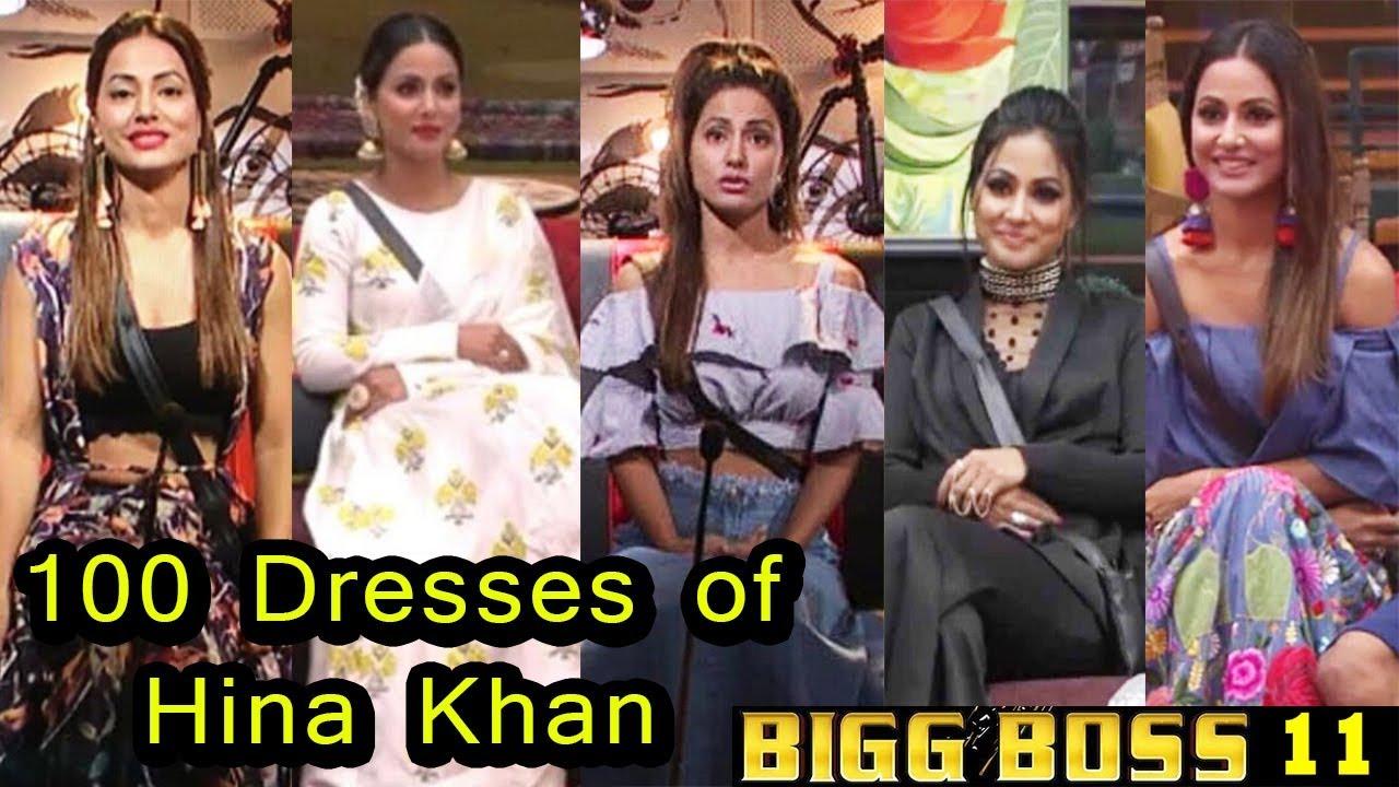 Big Boss 11 All 100 Dresses Of Hina Khan Youtube