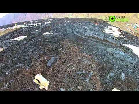 Imagens aéreas erupção vulcão da ilha do Fogo, Chã das Caldeiras Cabo Verde - 2014