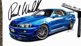 Fast & Furious 4 Nissan Skyline R34 GT-R speed drawing by Darko Iker