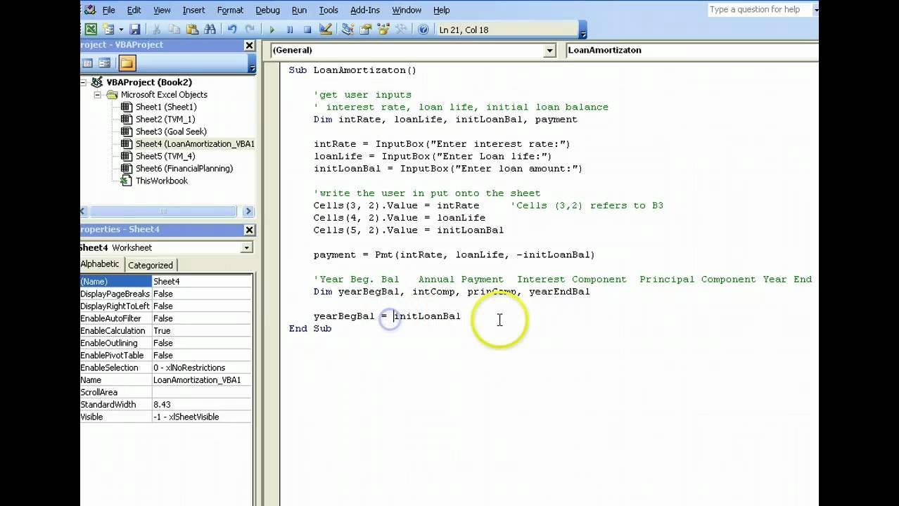 Loan Amortization using Excel VBA - YouTube