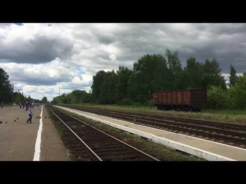 Прибытие поезда Иваново - Кинешма на станцию Вичуга.