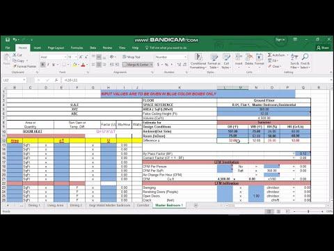 Heat Load Calculation Using E20 Form