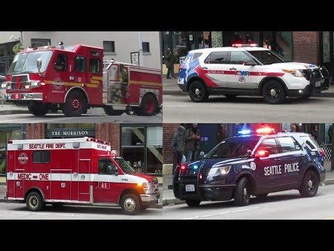 [E-ONE QUEST] Seattle Fire Engine Responding + AMR & Police On Scene 西雅圖消防車緊急出動+救護車輛和警車現場處理