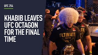 Khabib leaves the octagon for the final time after retiring at UFC 254