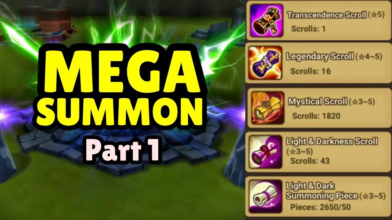 mega summon part 1 over 2000 scrolls on 1 account summoners war