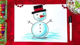 Как нарисовать СНЕГОВИКА на Новый Год - урок рисования для детей