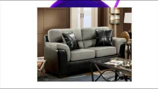 Roundhill Furniture Laredo 2-toned Sofa And Loveseat Living Room Set Black And Grey