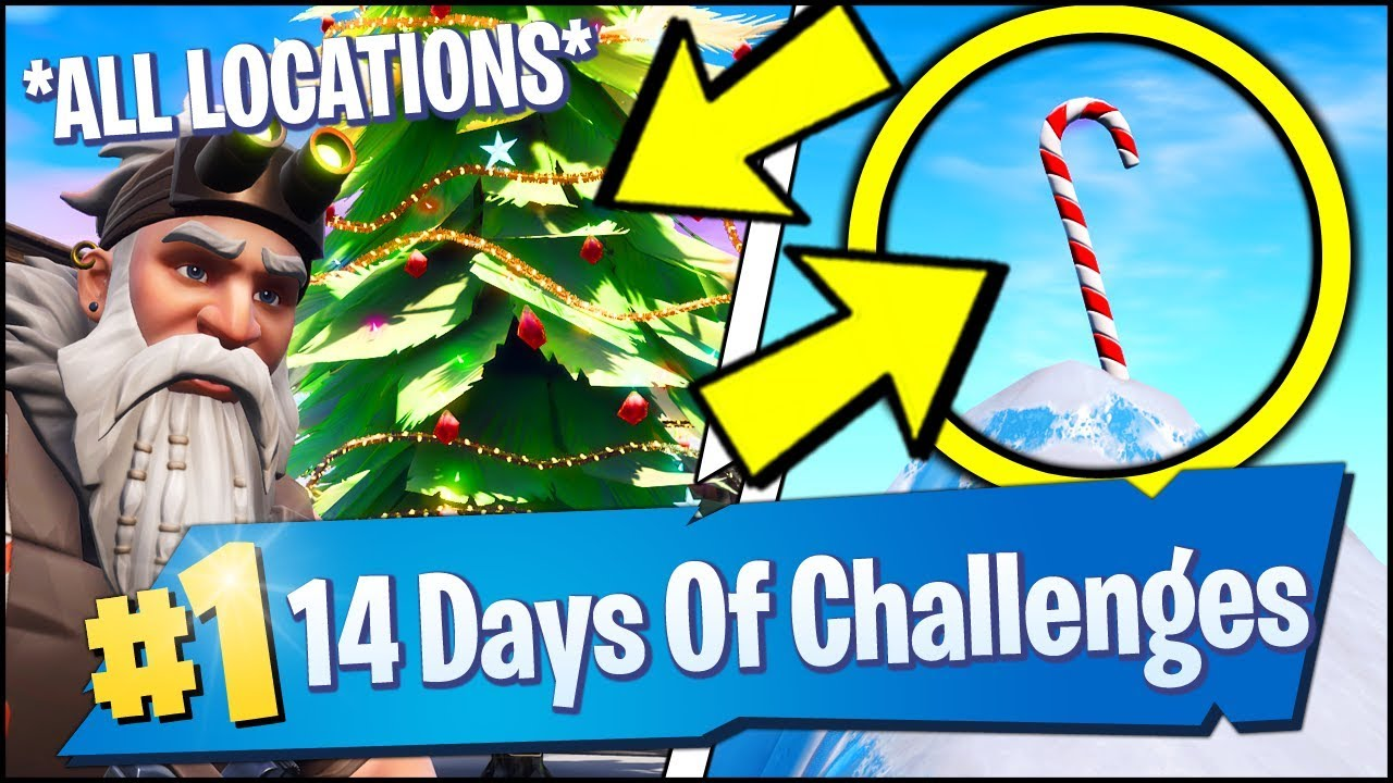All Fortnite Locations Giant Candy Canes Holiday Trees 14 Days