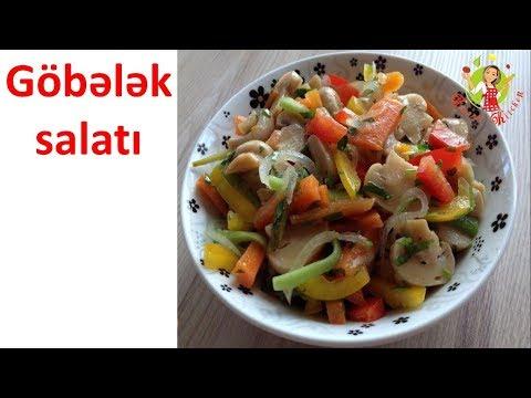 🔵 Göbələkli salat hazırlanması | Gobelek salatinin hazirlanmasi | Yay salati | Sade asan salat |