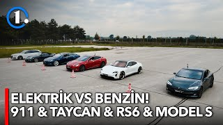 Porsche 911  Porsche Taycan  Audi RS6  Tesla Model S  Elektrik vs Benzin  DragRolling Yarışı