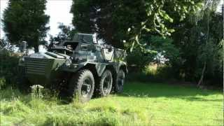 Saracen Armoured Car pulls down tree