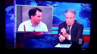 Jon Stewarts interpretation of Scott Walkers opinion on a Koch Brother
