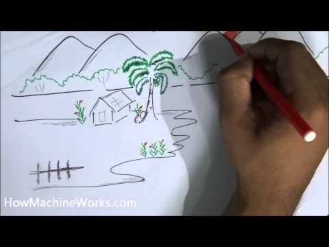 how to draw a scenery in 2 minutes - Simple Nature Drawing For Kids