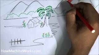 How to draw a scenery in 2 minutes