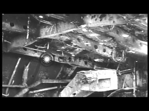Wrecked flight deck of the aircraft carrier USS Enterprise after the enemy bombar...HD Stock Footage