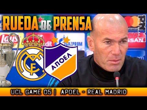 Apoel - Real Madrid Rueda de prensa de ZIDANE Champions (20/11/2017)