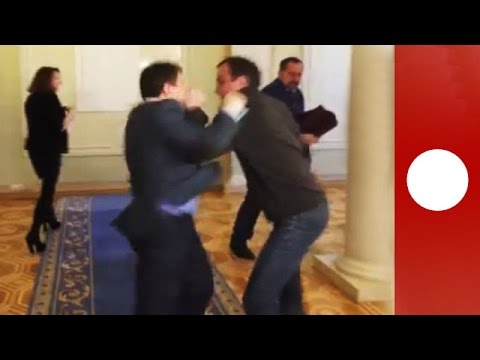 Ukraine parliament scrap: 2 MPs brutally fist fight over bill