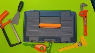 Educational video for kids with toy hand tools learning animal names