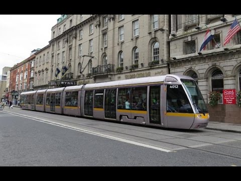 Dublin's Luas trams Connolly to Heuston lineside and on-board September 2014