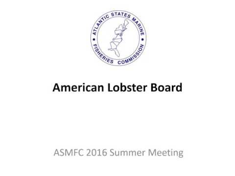 ASMFC American Lobster Board Proceedings August 2016