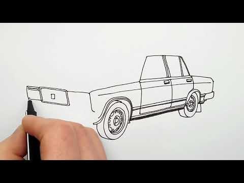 Автомобиль Жигули ВАЗ 2107 ★ Как Нарисовать Машину ★ Рисуем Жигули седан