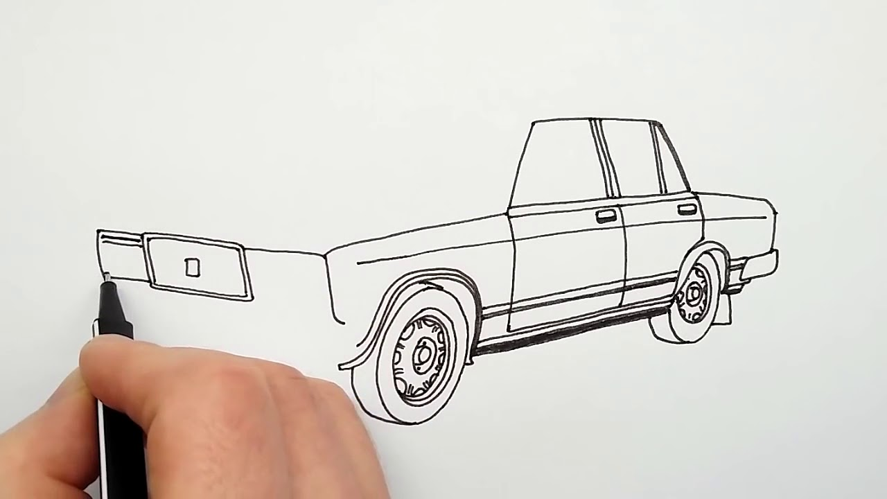 Автомобиль Жигули ВАЗ 2107 ★ Как Нарисовать Машину ...