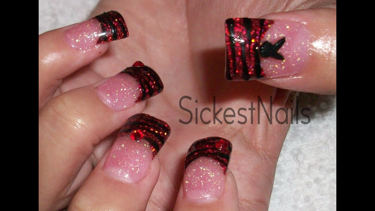 Glitter Acrylic Nail Design Red Glitter Zebra Tip With 3d Playboy