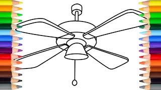 Let's draw ceiling fan - drawings for kids!