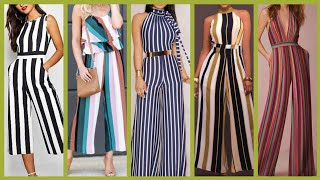 stylish and trendy Striped jumpsuits styles and outfit ideas for office wear girls and women