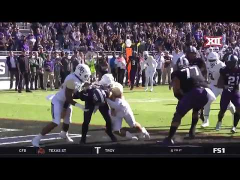 Lenoy Jones, Jr. sacks Kenny Hill for safety, Baylor v TCU 2017