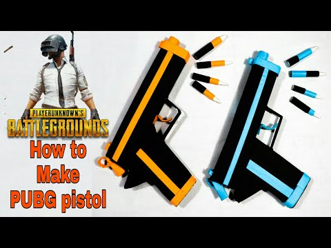 [DIY] How to make PUBG pistol using paper that shoots paper bullets- Toy weapons