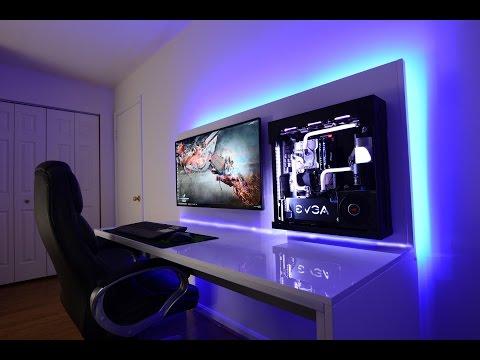 """Lian Li Custom Watercooled Wall Mounted Skylake i7 Gaming Setup 40"""" 4K Monitor"""