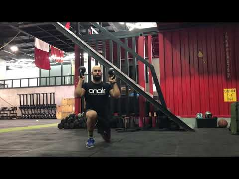 Functional Strength - double kettlebell bottom up reverse lunges - ON AIR