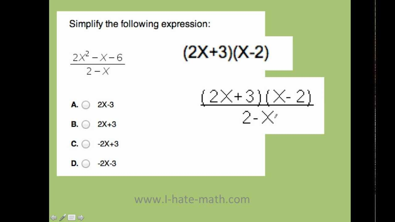 How to simplify rational expressions Pert Practice question - YouTube