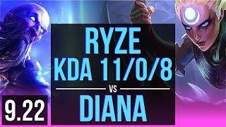 RYZE vs DIANA (MID) | KDA 11/0/8, 68% winrate, Legendary | Korea Grandmaster | v9.22