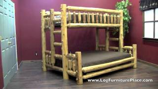 Cedar Lake Twin Over Queen Log Bunk Bed From Logfurnitureplace.com