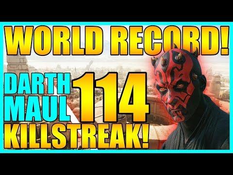 (World Record) 114 Darth Maul Gameplay/Killstreak - Star Wars Battlefront 2