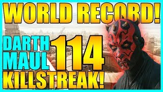 (Old World Record) 114 Darth Maul Gameplay/Killstreak - Star Wars Battlefront 2
