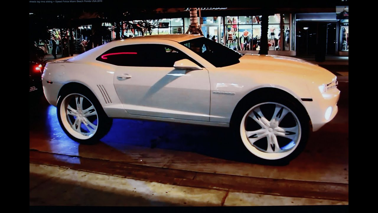Big Cars Big Wheels 32 Inch Rims V6 V8 Motorpower + Police Control Miami  Beach Florida 2013   YouTube