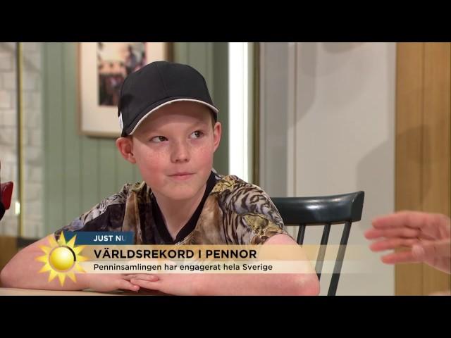 10-åriga Adam har samlat ihop 285 000 pennor - flest i världen - Nyhetsmorgon (TV4)