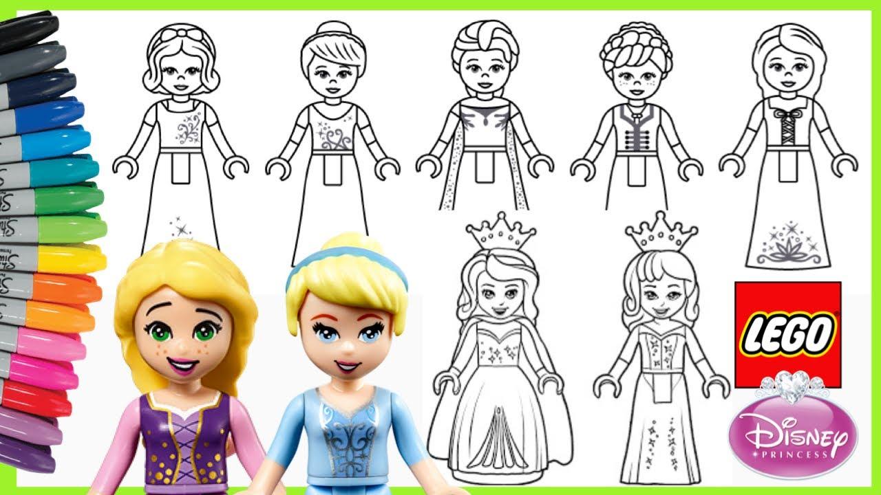 Mewarnai Lego Disney Princess Coloring Page Elsa Anna Ariel Aurora Snow White Youtube