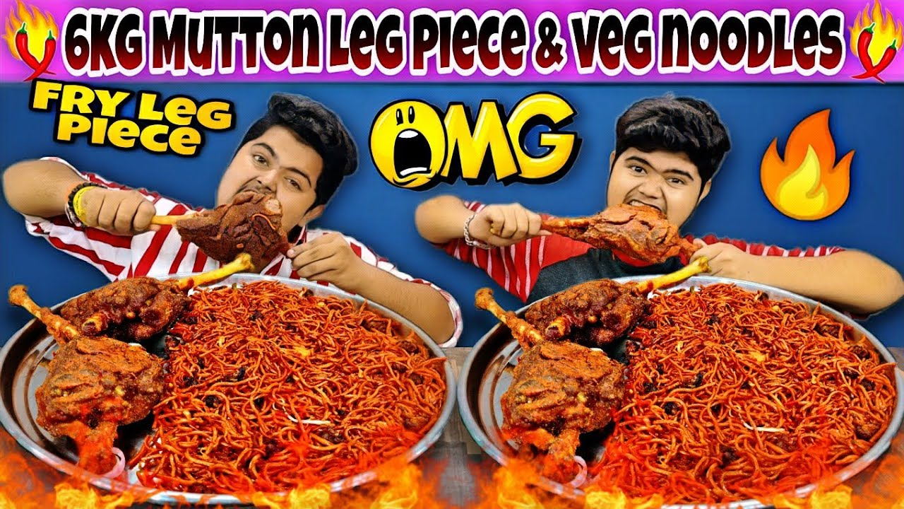 2 Full Mutton Leg Fry & Spicy Chicken Noodles Eating Challenge🔥 | Mutton Leg Fry Recipe & Eating 😋