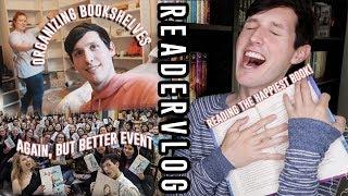 ORGANIZING MY FRIENDS BOOKSHELF & READING THE HAPPIEST BOOK | READER VLOG