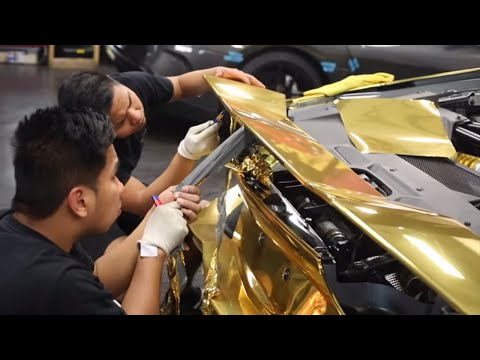 Lamborghini Aventador Wrapped Gold For Rally!