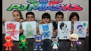 Pjmaskeliler boyama kapışması. Pj maskeliler karakterlerini boyadık. Kim daha güzel boyadı?