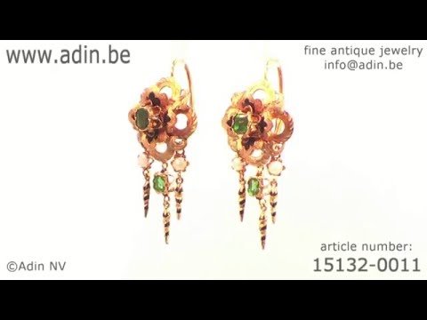 French Victorian antique parure brooch earrings bracelet enameled gold. (Adin reference: 15132-0011)